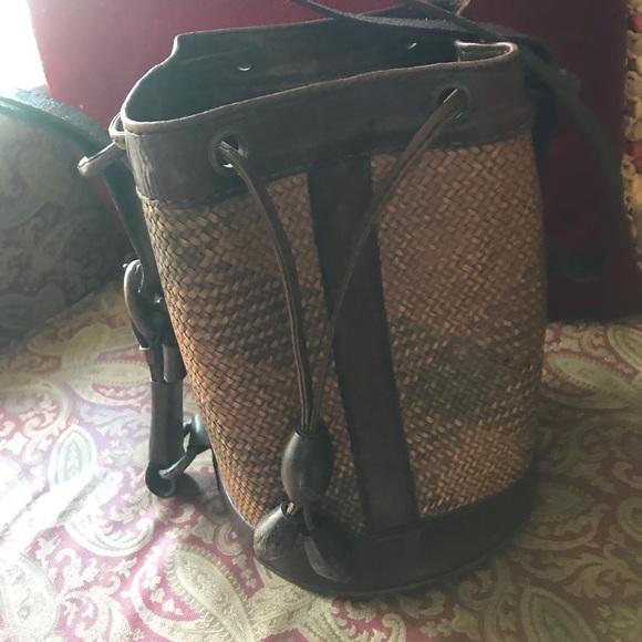 Handbags - Leather and straw bucket bag